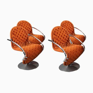1-2-3 System Dining Armchairs by Verner Panton for Fritz Hansen, 1970s, Set of 4