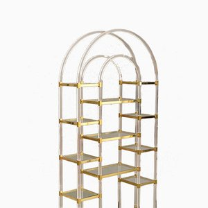 Bookcase in Plexiglass and Brass from Maison Jansen, 1970s