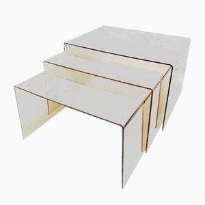Tables Gigognes Space Age en Plexiglas Fumé, 1960s, Set de 3