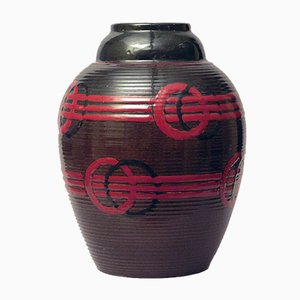 French Earthenware Vase with Brown and Red Glaze by Luc Lanel, 1920s