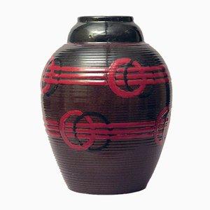 Vase en Faïence avec Verni Marron et Rouge par Luc Lanel, 1920s