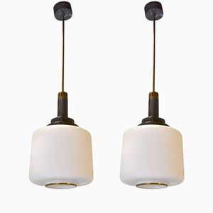 Suspensions en Verre Opalin, Italie, Set de 2