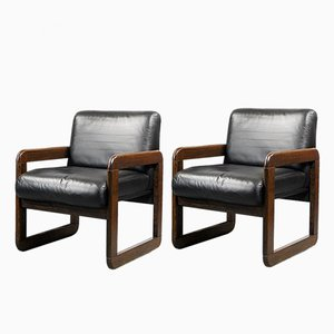 Swiss Rosewood & Leather Cube Chairs from Sitag, 1960s, Set of 2