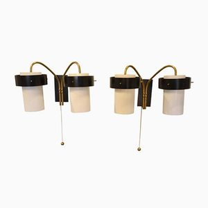 Italienische Vintage Wandlampen mit Zwei Leuchten von Stilnovo, 2er Set