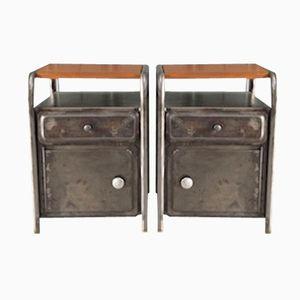 Industrielle Vintage Nachttische, 2er Set