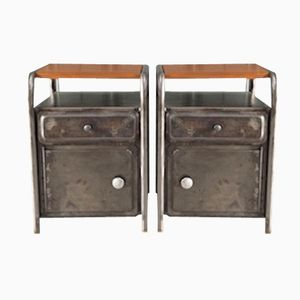 Vintage Industrial Night Stands, Set of 2