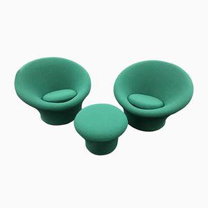 Grüne Mushroom Sessel & Ottoman von Pierre Paulin für Artifort, 1960, 2er Set