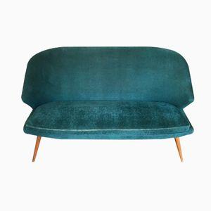 Blaues Samt Zwei-Sitzer Sofa, 1960er