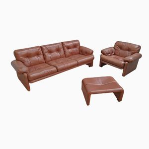 Italian Sofa and Footstool in Cognac Leather by Afra & Tobia Scarpa Coronado, 1960s, Set of 3