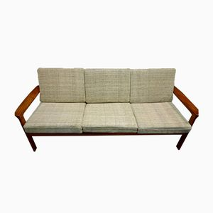 Teak 3-Seater Sofa with Beige Upholstery