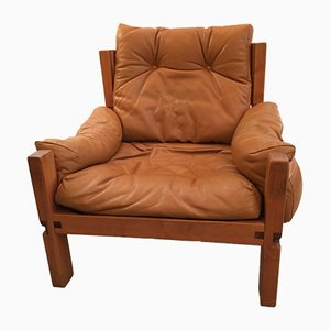 French Leather Armchair by Pierre Chapo, 1970s
