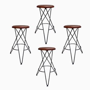 Vintage Scandinavian High Stools, Set of 4