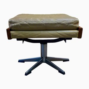 High Ottoman with Leather Cushion, 1960s
