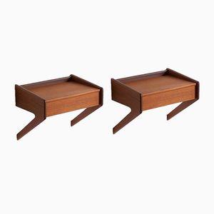 Tables de Chevet Mid-Century Montées au Mur avec Tiroirs de Orum Mobelfabrik, Set de 2