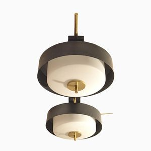 French Glass & Brass Ceiling Light from Arlus, 1950s