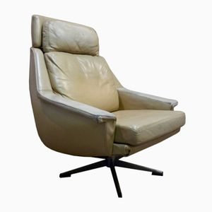 Chrome & Cream Leather Armchair, 1960s