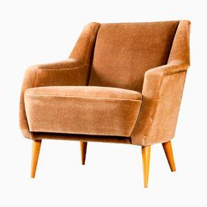 Large Scandinavian Brown Velvet Armchair, 1950s