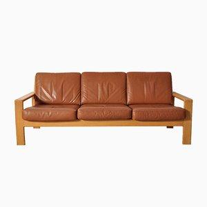 Vintage Scandinavian Leather & Oak Three-Seater Sofa