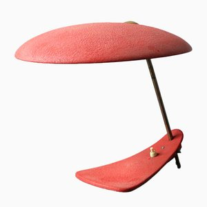 Mid-Century Italian Modernist Table Lamp with Red Shrink Varnish