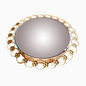 Round Illuminated Wall Mirror with Gilded Iron Rings and Flowers, 1960s