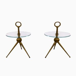 Vintage Bespoke Italian Brass and Glass Side Tables, Set of 2