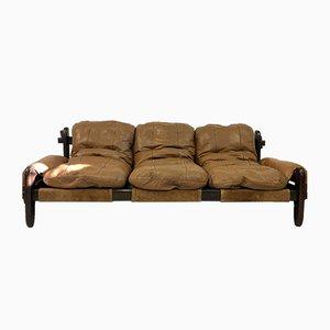 Vintage Brazilian Leather and Imbula Sofa by Jean Gillon for Probel