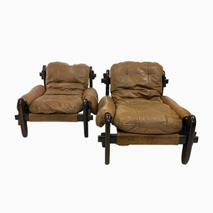Vintage Leather Lounge Chairs by Jean Gillon for Probel, Set of 2