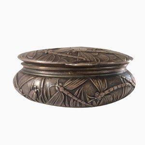 Jugendstil Dose aus Versilberter Bronze von Louchet Ciseleur, 1900