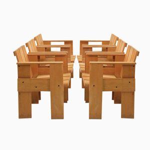 Crate Stühle von Gerrit Rietveld für Cassina, 1974, 6er Set