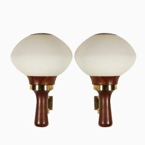 Teak & Opaline Glass Wall Lamps, 1960s, Set of 2