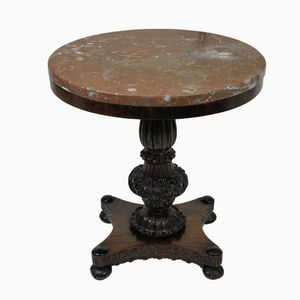 Antique Rosewood and Marble Side Table