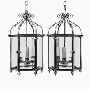 Vintage English Silver Lanterns, Set of 2