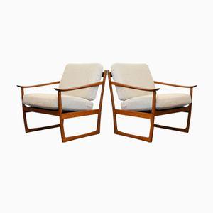 FD-130 Teak Lounge Chairs by Peter Hvidt & Orla Mølgaard for France & Søn, 1960s, Set of 2