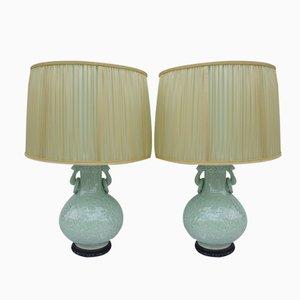 Celadon Porcelain Lamps with Bas Reliefs, Set of 2