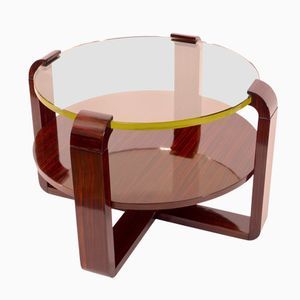 Macassar Side Table with Glass Top, 1930s