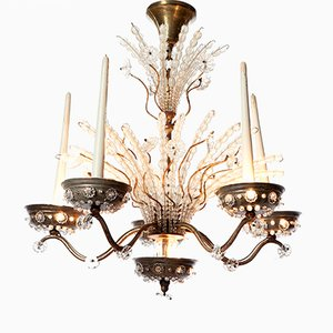 Lustre à 10 Lampes en Argent Plaqué en Laiton et en Cristal de Maison Baguès, 1920s