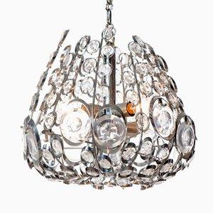 Lustre Vintage à Six Lampes en Acier Chromé et en Verre de Stilkrone