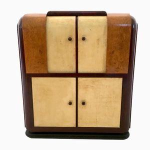 Vintage Barschrank aus Pergament & Mahagoni