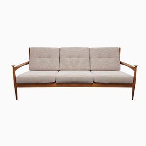 Solid Wood & Beige Fabric Sofa, 1960s