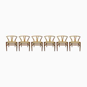 Vintage Wishbone Chairs by Hans J. Wegner for Carl Hansen, Set of 6