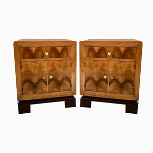 Italian Walnut and Ebonized Beech Bedside Tables, 1940s, Set of 2