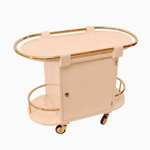 Cream Bar Cart with Brass Details, 1930s
