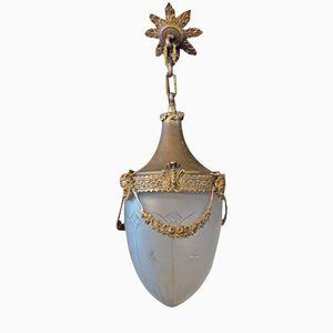 Belgische Opalglas Hängelampe, 1890er
