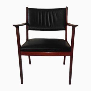 Modell PJ412 Stuhl aus Mahagoni & Schwarzem Leder von Ole Wanscher für Poul Jeppesen, 1960er