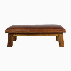 Mid-Century Leather & Wood Gym Bench, 1950s