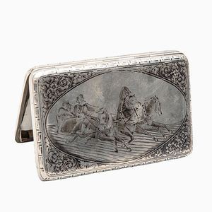 Russian Silver Cigarette Case from Nikolai Vasilievich Alexeev, 1885
