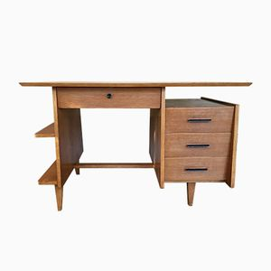 French Oak Veneer Desk, 1950s