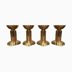 Vintage Art Deco Brass Candle Holders, Set of 4