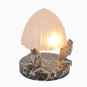 French Crow Table Lamp with Glass Shade, 1930s