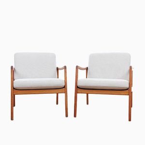 Mid-Century Modern Danish Model 110 Lounge Chairs by Ole Wanscher for France & Son, 1951, Set of 2